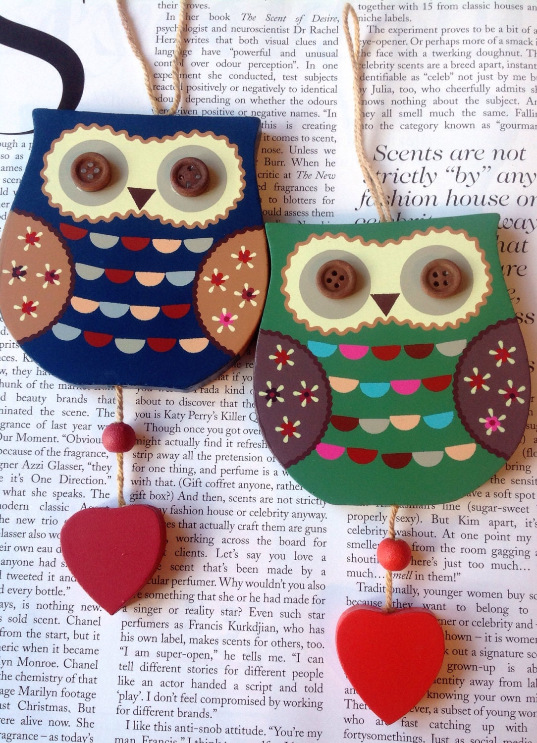 Wooden Hanging Owl Home Decor Owl Decor By Lousimart On Etsy