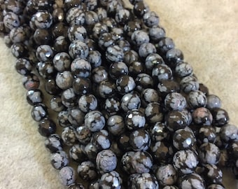 Snowflake Obsidian Faceted Round Bead Strand, 6mm, approx. 66 beads per strand