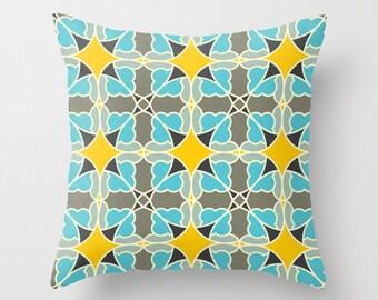 Blue yellow pillow, Flower pillow, Decorative throw pillow, Nature inspired design, Modern home decor, accent cushion