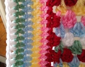 Crochet Granny  stripe blanket  in Cath Kidston colours. .  ready to ship