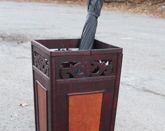 Hand-curved wooden umbrella holder, very vintage look