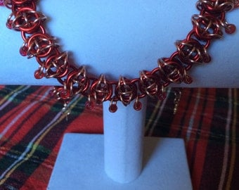 Red and Gold Chainmaille Necklace
