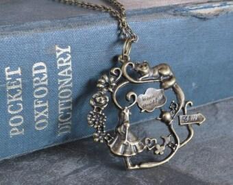 Alice In Wonderland Necklace Bronze Jewelry Steampunk