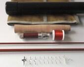 "Custom fly rod kit 7'3"" #4wt with fibreglass fly rod blank e-glass 2-piece nutmeg brown"