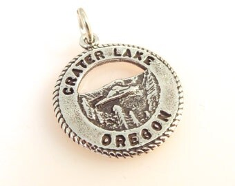 Sterling Silver CRATER LAKE Charm Pendant Oregon National Park .925 Sterling Silver New tr40