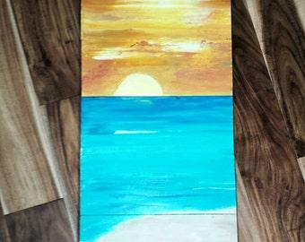 Ocean Sunset on reclaimed boards