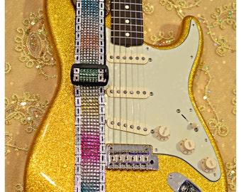 Bling Guitar Strap (Sparkle Trim)- Rainbow Guitar Strap- Bling Guitar- Crystal Guitar Strap- Sparkly Guitar Strap- Guitar Strap- Rainbow