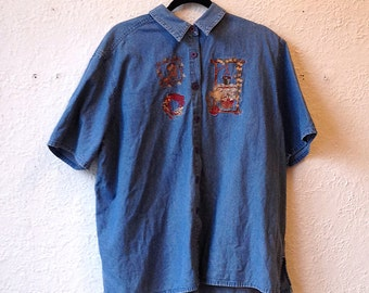 Vintage embroidered shirt jeans country style, size man