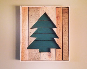 Wooden Christmas Tree Sign (Green)  from Reclaimed Wood