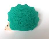 Crochet hedgehog cushion