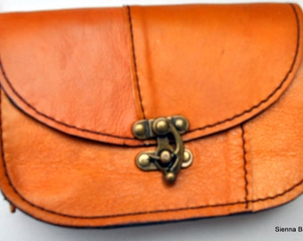 Handmade small  light brown leather shoulder bag ,mobile phone storage bag, passport holder, wallet holder
