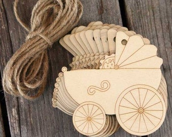 10 x Wooden Old Fashioned Pram Craft Shapes 3mm Plywood with Detail