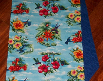 Hummingbirds & Hibiscus Tropical Table Runner