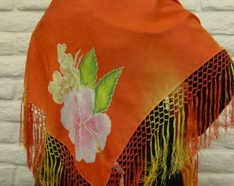 Tangerine Orange silk shawl with Tropical Flowers