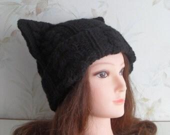 """Women hand knitted """"Felix the Cat"""" black Cat hat/ Cat ear hat/ Cat ear beanie/ slouchy beanie"""