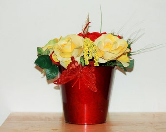 Butterfly Yellow and Red Rose Arrangement