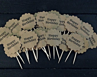 Happy Birthday Rustic Cupcake Toppers set of 30
