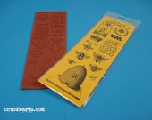 Bees / Invoke Arts Collage Rubber Stamps / Unmounted Stamp Set
