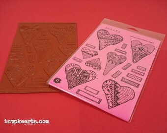 Funky Hearts / Invoke Arts Collage Rubber Stamps / Unmounted Stamp Set