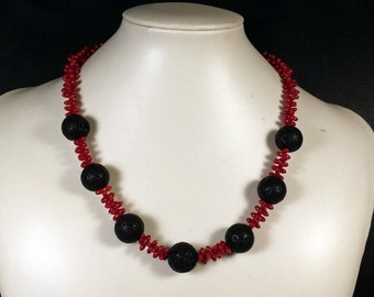 Necklace with Red Coral and Lava, Handmade
