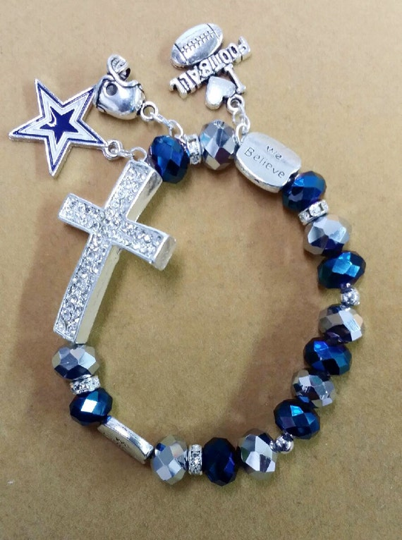 dallas cowboys charm bracelet dallas cowboys cross charm bracelet by toshiesjewelry on etsy 6427