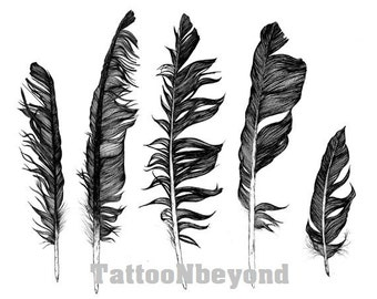 Temporary Tattoo - 4 types of Feathers Tattoos
