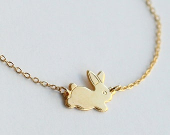 Gold rabbit necklace, Bunny Necklace, gold Rabbit, Rabbit  Bunny Pendant, Small Bunny, Animal Jewelry, Christmas gift, Everyday Necklace
