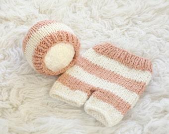 Newborn Striped Capri and Beanie Set