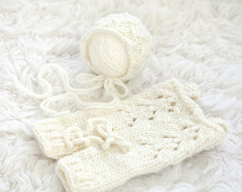 Knit Overall and Bonnet Set