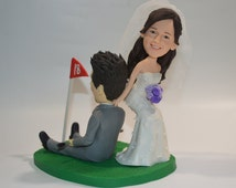 funny golf themed wedding cake toppers unique clay and groom related items etsy 14545