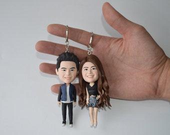 Custom wedding cake topper funny cartoon bride and groom figure key chain