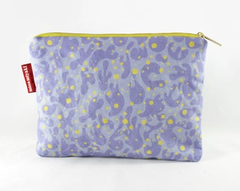 Lilac Splash Cosmetic Makeup Linen-Cotton Canvas Zipper Pouch | Lilac Polyester Lining
