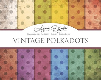 Grunge polkadots Digital Paper. Scrapbook Backgrounds, Old weathered patterns Commercial Use. Worn grungy shabby textures Clipart Download