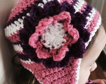 Striped toddler crochet hat with flower