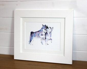 Watercolour Playful Huskies Fine Art PRINT