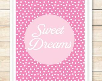 Sweet Dreams Nursery Art, Newborn Gift, Playroom, Girl Bedroom Print, Printable Wall Art, Wall Decor, Pink, Polka Dot, Poster, coffeeandcoco