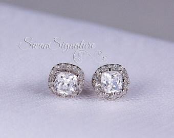 Swarovski Stud Earrings/Light Azure Swarovski Crystal Earrings/ Cushion Set Crystal Studs/ Bridesmaid Earrings stl126