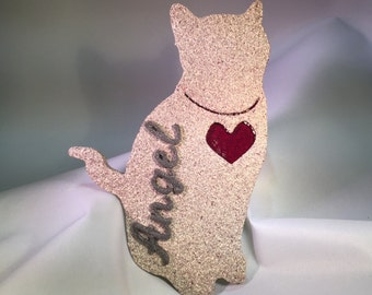 Personalized Cat Silhouette Decoration (Pebble)