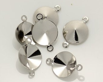 6pcs--Brass Setting Frame, Platinum Color, with 2 Loops, 10mm (B25-17)