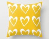Yellow Throw Pillow, Decorative Pillows, Colorful Pillows, Heart Pillow, Heart Design Patio Cushions, Summer Pillow, Outdoor Pillow Covers