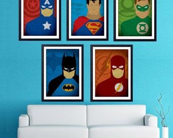 Hero Poster Set. Superman, Flash, Batman, Green Lantern