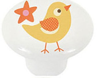 Stylized  Baby Chick Yellow Bird Ceramic Knobs for Cabinets, Drawers