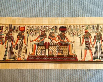 """Huge Handmade Papyrus Egyptian Kings Museum Art Painting...32""""x12"""" Inches"""