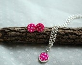 Polkadot earrings with matching necklace
