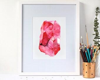 Watercolour Ruby Gemstone 8x10 Print