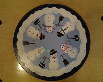 Hand-Painted Snowman Lazy Susan
