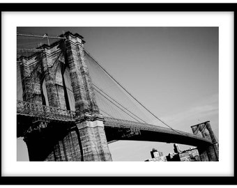 The Brooklyn Bridge, New York City. Black and White Fine Art Photograph printed on 308gsm Hahnemuhle fine art paper (Unmatted)