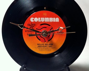 """Recycled WILLIE NELSON 7"""" Record • Song: Uncloudy Day • Record Clock"""