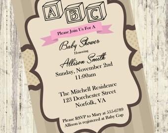 Building Blocks Baby Shower Invitation, Vintage Wooden Blocks Baby Boy Shower Invite, ABC Baby Shower Invitation, Blocks Shower Invitation