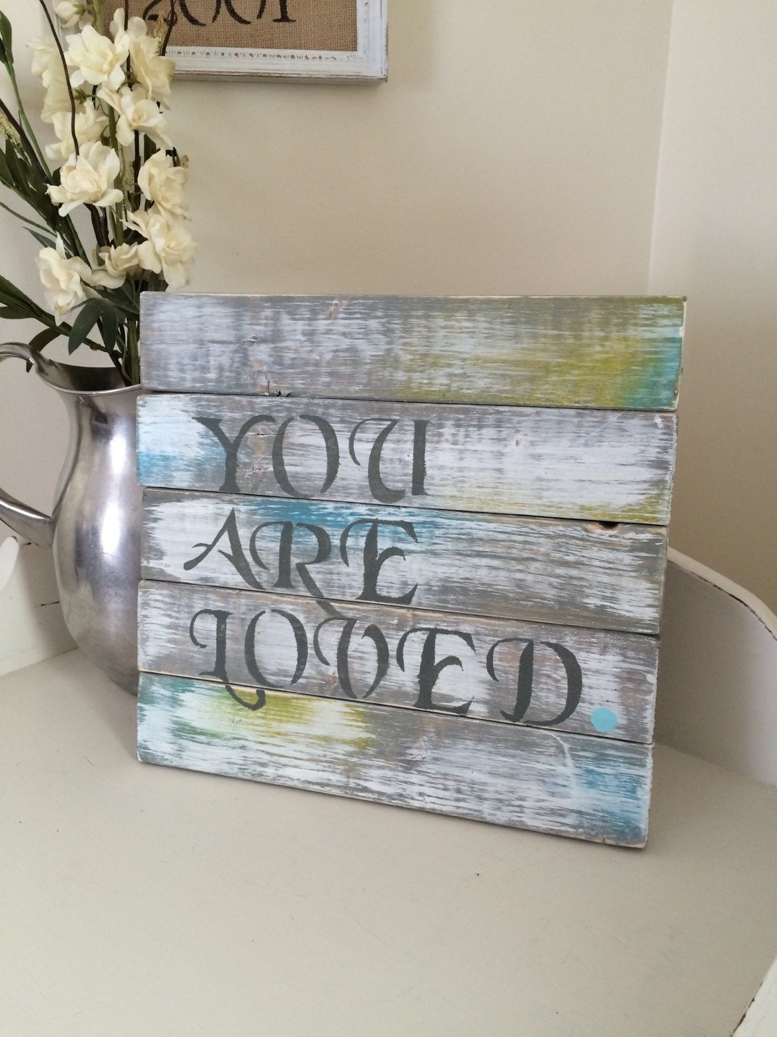 Handmade Rustic Wall Decor : Handmade rustic wall art wooden sign you are loved